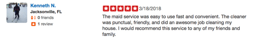 5 Star Review for Maids of Jacksonville from Kenneth
